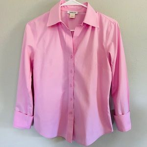 Harold's pink collared button down shirt
